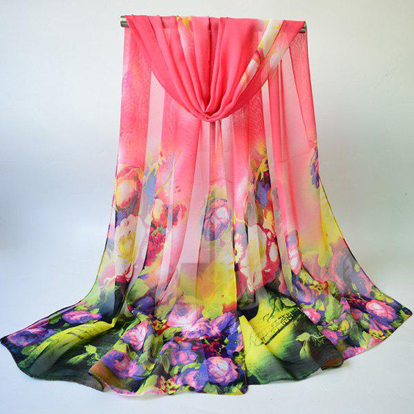 Chiffon Multicolor Blossom Printing Lightsome Gossamer ScarfACCESSORIES<br><br>Color: PINK; Scarf Type: Scarf; Group: Adult; Gender: For Women; Style: Fashion; Material: Polyester; Pattern Type: Floral; Season: Fall,Spring,Summer,Winter; Scarf Length: 155CM; Scarf Width (CM): 50CM; Weight: 0.0350kg; Package Contents: 1 x Scarf;