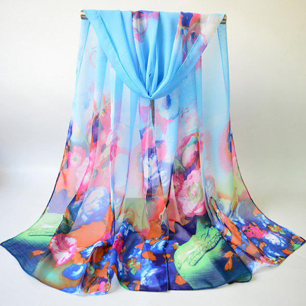 Chiffon Multicolor Blossom Printing Lightsome Gossamer ScarfACCESSORIES<br><br>Color: AZURE; Scarf Type: Scarf; Group: Adult; Gender: For Women; Style: Fashion; Material: Polyester; Pattern Type: Floral; Season: Fall,Spring,Summer,Winter; Scarf Length: 155CM; Scarf Width (CM): 50CM; Weight: 0.0350kg; Package Contents: 1 x Scarf;