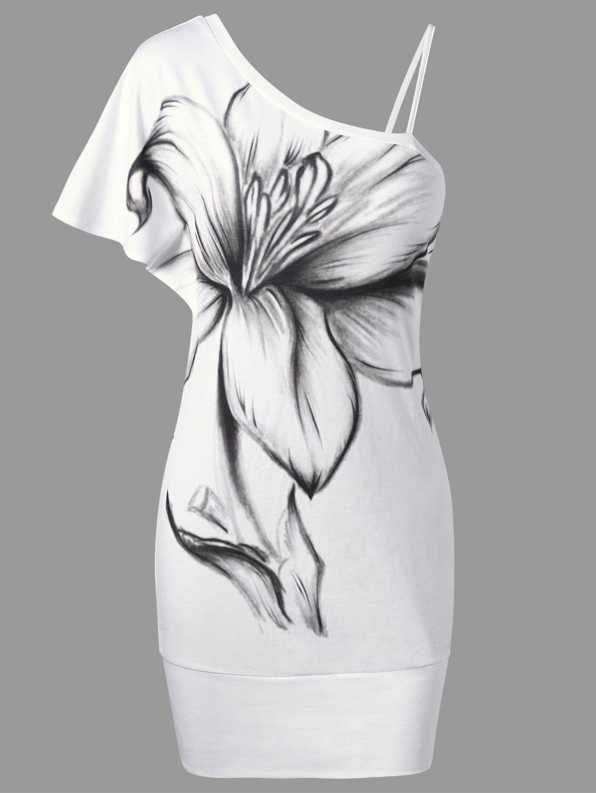 Chic Floral Bodycon One Shoulder Dress