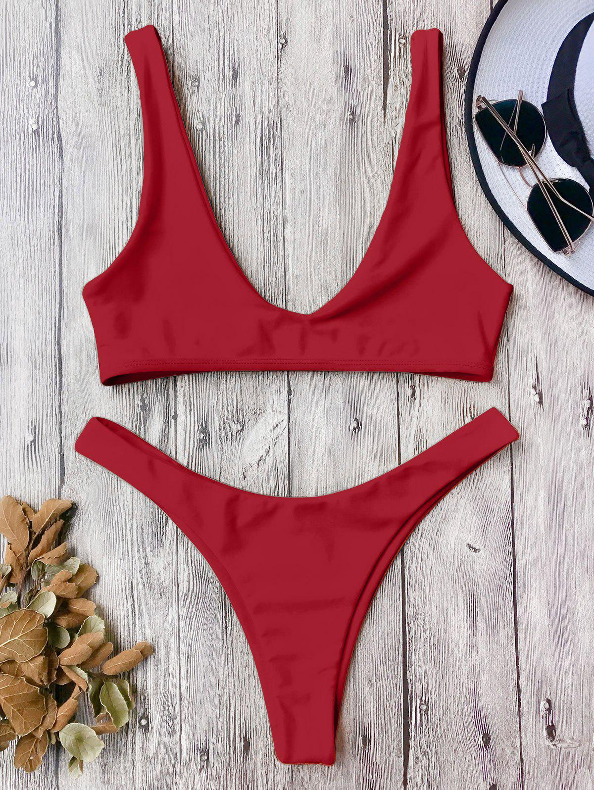 Online High Cut Scoop Neck Bikini Set
