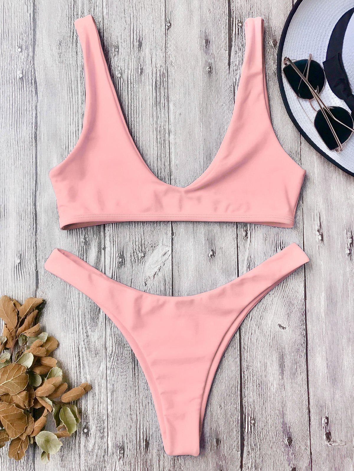 High Cut Scoop Neck Bikini SetWOMEN<br><br>Size: M; Color: PINK; Swimwear Type: Bikini; Gender: For Women; Material: Polyester,Spandex; Bra Style: Bralette; Support Type: Wire Free; Neckline: Scoop Neck; Pattern Type: Solid; Waist: Low Waisted; Elasticity: Elastic; Weight: 0.2000kg; Package Contents: 1 x Top  1 x Bottoms;