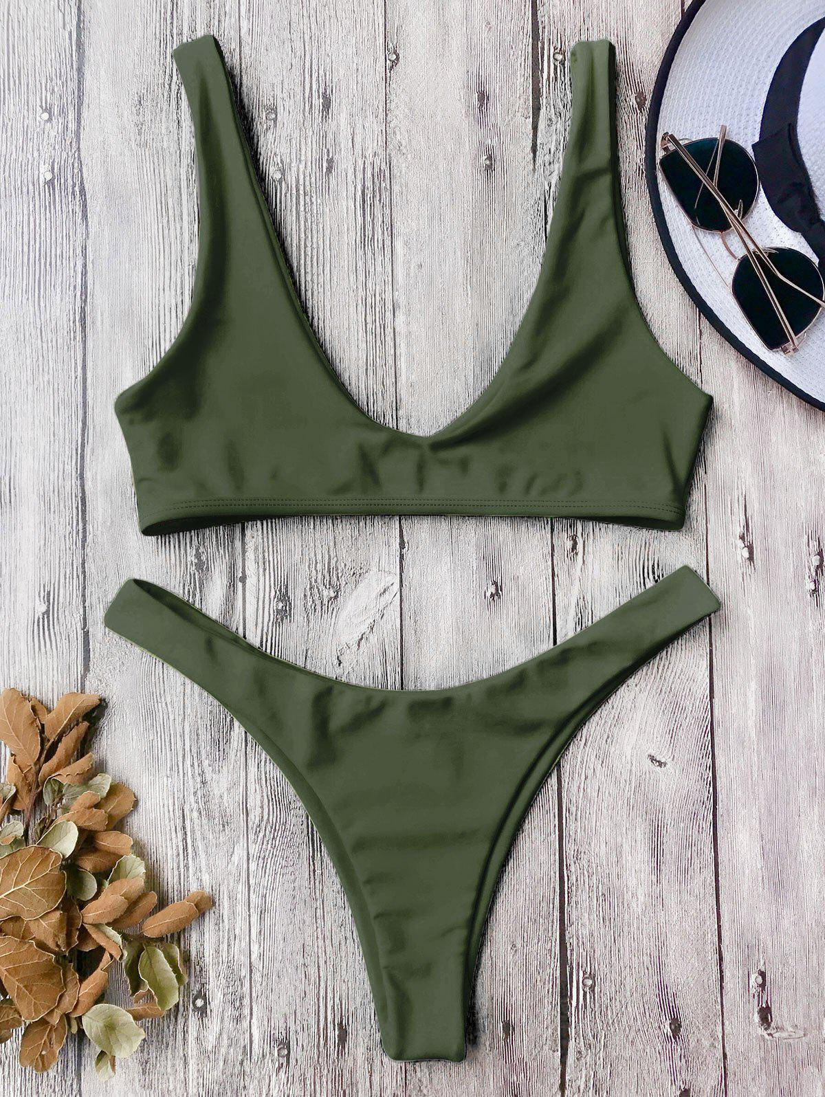High Cut Scoop Neck Bikini SetWOMEN<br><br>Size: S; Color: ARMY GREEN; Swimwear Type: Bikini; Gender: For Women; Material: Polyester,Spandex; Bra Style: Bralette; Support Type: Wire Free; Neckline: Scoop Neck; Pattern Type: Solid; Waist: Low Waisted; Elasticity: Elastic; Weight: 0.2000kg; Package Contents: 1 x Top  1 x Bottoms;