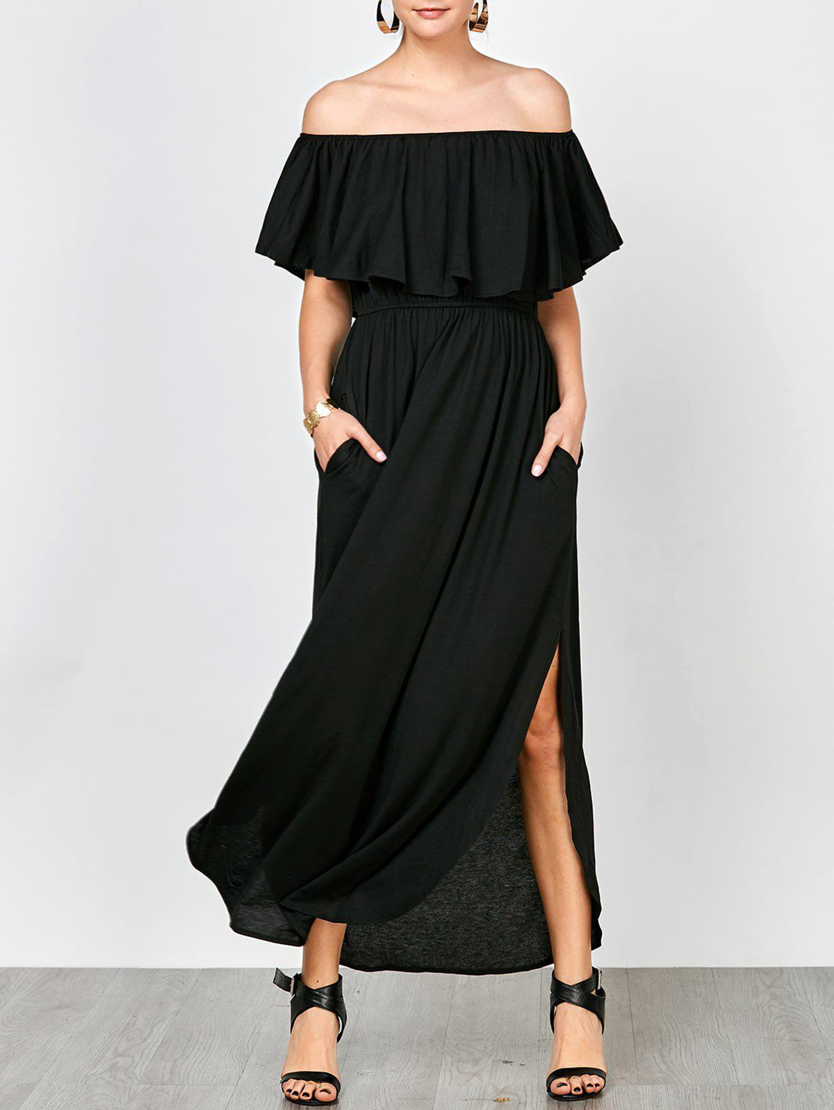 Buy Off Shoulder Long Flounce Slit Formal Dress