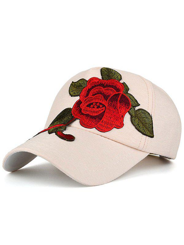 Showy Flower Embroidered Baseball HatACCESSORIES<br><br>Color: OFF-WHITE; Hat Type: Baseball Caps; Group: Adult; Gender: For Women; Style: Fashion; Pattern Type: Floral; Material: Polyester; Circumference (CM): 54-60CM; Weight: 0.0900kg; Package Contents: 1 x Hat;