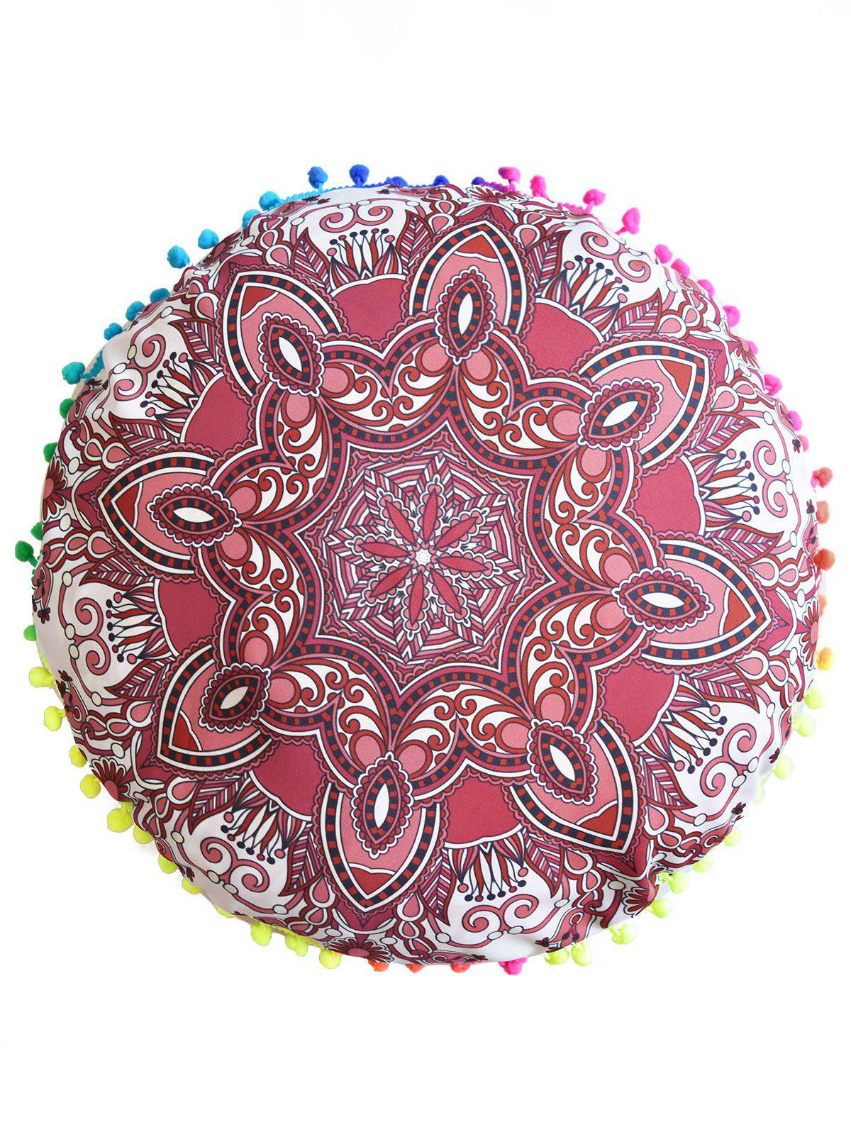 Mandala Print Round Throw Cover Pouf PillowcaseHOME<br><br>Size: DIAMETER: 45CM; Color: RED; Material: Polyester / Cotton; Pattern: Floral; Style: Accent/Decorative; Shape: Round; Weight: 0.0500kg; Package Contents: 1 x Pillow Case;