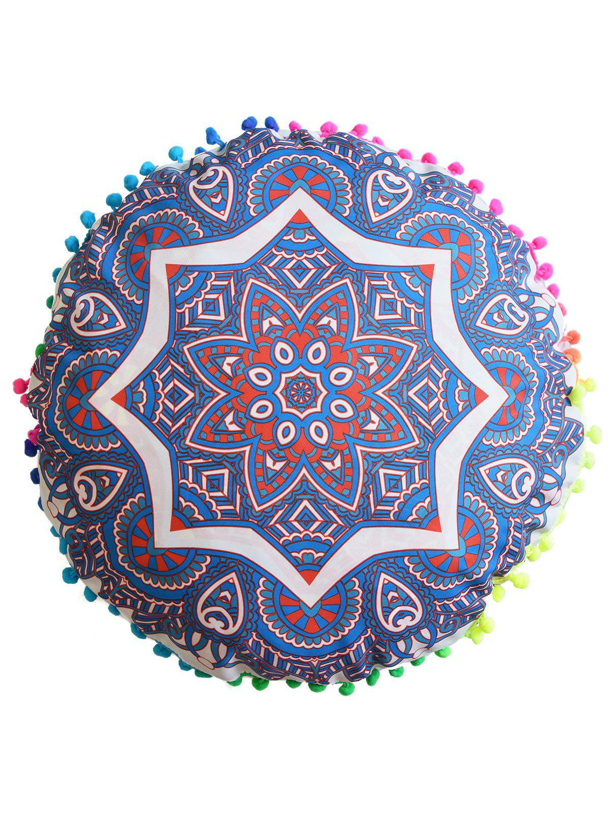 Mandala Round Cushion Floor Pillow Pouf CoverHOME<br><br>Size: DIAMETER: 45CM; Color: BLUE; Material: Polyester / Cotton; Pattern: Floral; Style: Accent/Decorative; Shape: Round; Weight: 0.0500kg; Package Contents: 1 x Pillow Case;