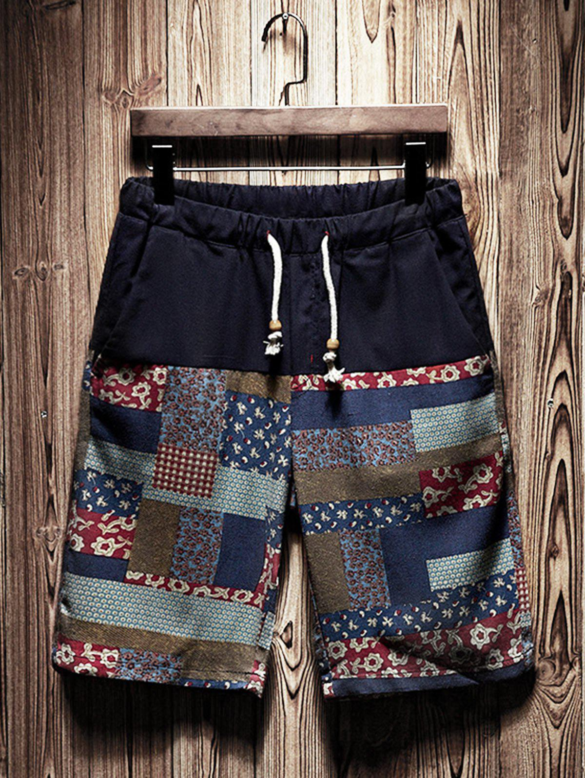 New Tribal Patchwork Printed Drawstring Shorts