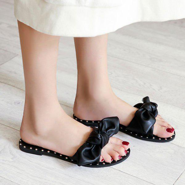 Unique Studded Bow Slippers