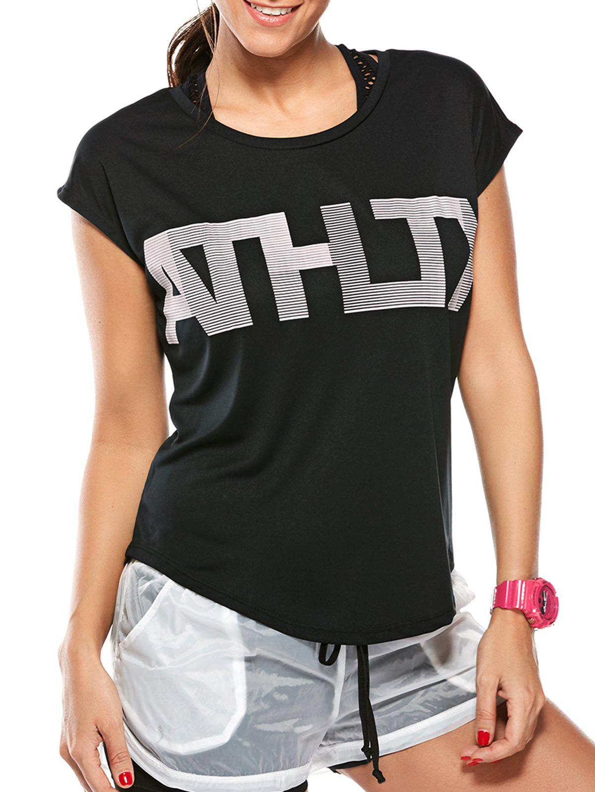 Cheap Asymmetric Workout Letter Graphic Gym T-Shirt