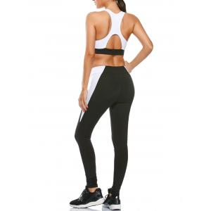 Sports Cutout Padded Bra and Two Tone Fitness Leggings - Black - L