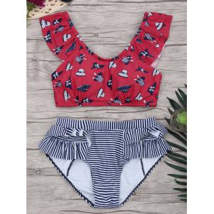 Dotted Ruffle Striped Bikini Set