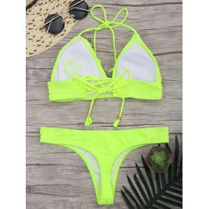 Lace Up Halter Ruched Bikini Set - FLUORESCENT YELLOW L