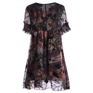 Ruched Floral Print Plus Size Dress