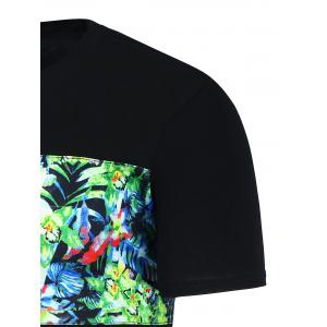 Tropical Floral Print Graphic Hawaiian T-Shirt - BLACK XL