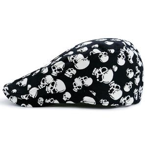 Adjustable Skull Printing Newsboy Hat - Black