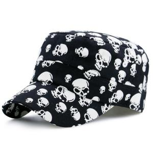 Skull Printing Flat Top Military Hat - Black - M