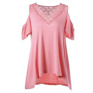 Open Shoulder High Low Hem T-Shirt - Pink - 2xl
