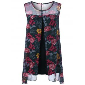 Front Slit Floral Plus Size Sleeveless Blouse