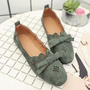 Bowknot Hollow Out Flat Shoes - Green - 37