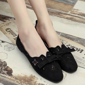 Bowknot Hollow Out Flat Shoes - Black - 38