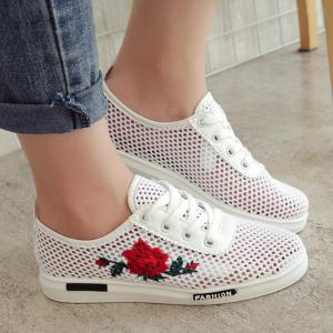 Mesh Rose Emboridered Skate Shoes - Red - 37