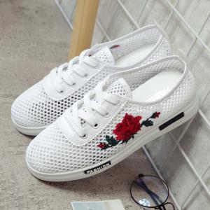 Mesh Rose Emboridered Skate Shoes - Rouge 37