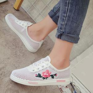 Mesh Rose Emboridered Skate Shoes -