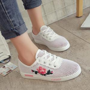 Mesh Rose Emboridered Skate Shoes - Pink - 39