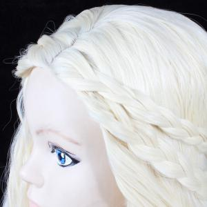 Long Shaggy Side Part Slightly Curly Cosplay Synthetic Wig With Braids - OFF WHITE 30INCH