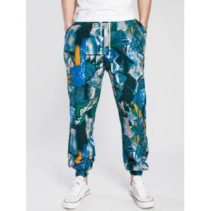 Drawstring Cotton Linen Color Block Print Jogger Pants