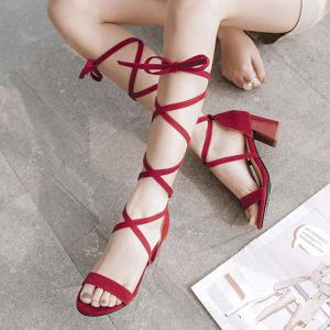 Lace Up Block Heel Sandals - RED 38