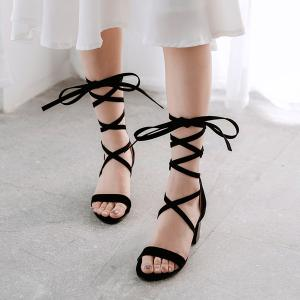 Lace Up Block Heel Sandals -