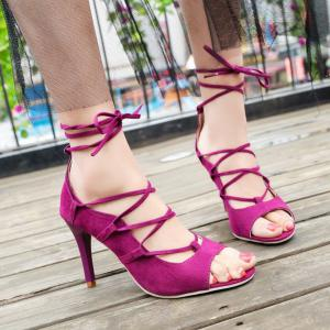 Lace Up Stiletto Heel Sandals