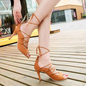 Lace Up Stiletto Heel Sandals - Light Brown - 38