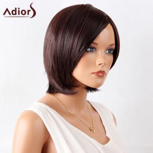 Adiors Short Straight Bob Side Bang Synthetic Wig - MAROON 10INCH