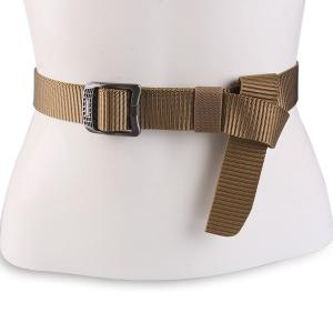 Rectangle Metal Buckle Canvas Belt - Coffee - M