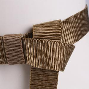 Rectangle Metal Buckle Canvas Belt - COFFEE