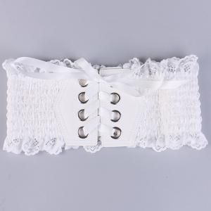 Metal Circles Lace Up Elastic Wide Corset Belt - WHITE