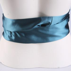 Wide Imitation Silk Ribbon Corset Belt - PEACOCK BLUE