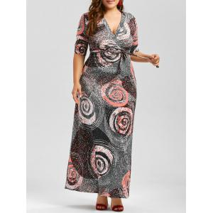 Plus Size Floor Length Galaxy Print Dress With Belt