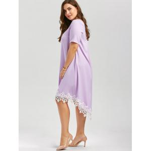 Plus Size Lace Trim High Low Casual Swing Dress -