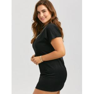 Sequined Embellished V Neck Plus Size Tee Dress - Noir XL