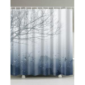 Scenery Print Fabric Shower Curtain with Hooks - Gray - W71 Inch * L79 Inch