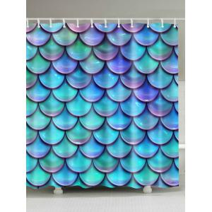 Waterproof Mermaid Scale Print Bathroom Shower Curtain - Lake Blue - W71 Inch * L79 Inch