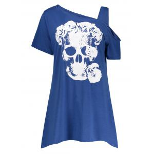 Plus Size Skew Neck Flower Skull T-Shirt