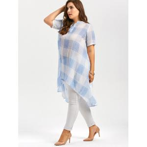 Long Plus Size Asymmetric Plaid Printed Button Shirt - LIGHT BLUE 5XL