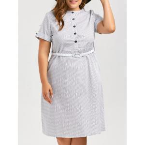 Plus Size Polka Dot Printed Vintage Shirt Dress with Pockets