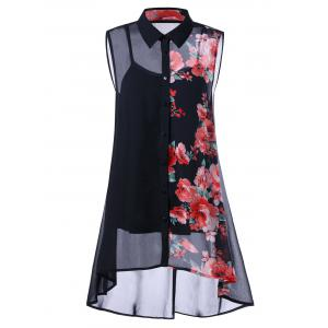 Plus Size Sleeveless Floral Button Down Blouse and Camisole - Black - 5xl