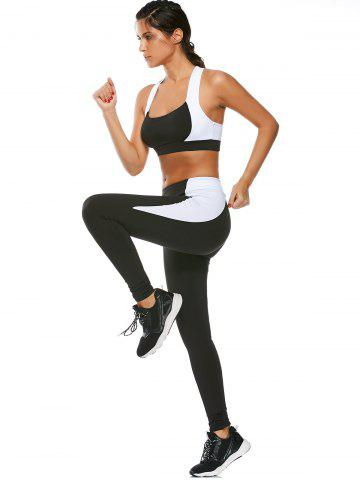 Store Sports Cutout Padded Bra and Two Tone Fitness Leggings - S BLACK Mobile