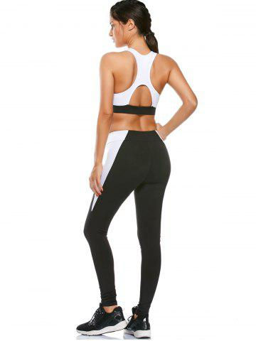 New Sports Cutout Padded Bra and Two Tone Fitness Leggings - S BLACK Mobile